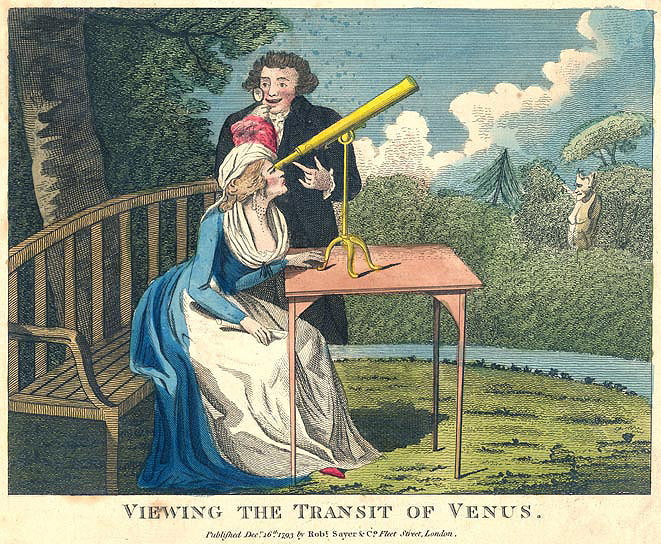 French Cartoon of Venus Transit Viewing