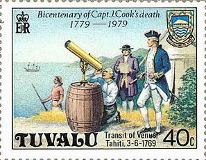 A stamp commemorating Cook's transit expedition.