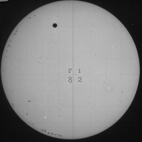 One of the first photographs of the transit of Venus 1882.