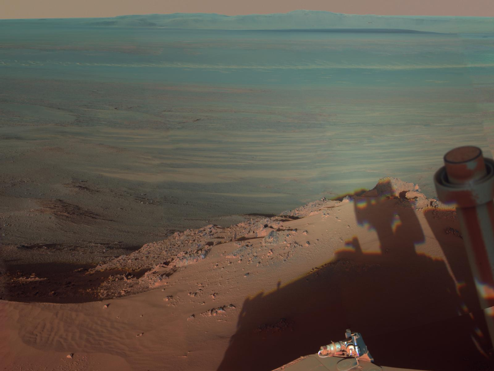 Opportunity Rover Captures Own Shadow, Giant Mars Crater