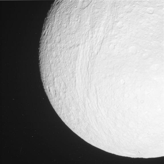 This raw, unprocessed image was taken by NASA's Cassini spacecraft on May 20, 2012. The camera was pointing toward the Saturn moon Tethys at approximately 81,580 miles (131,290 kilometers) away.