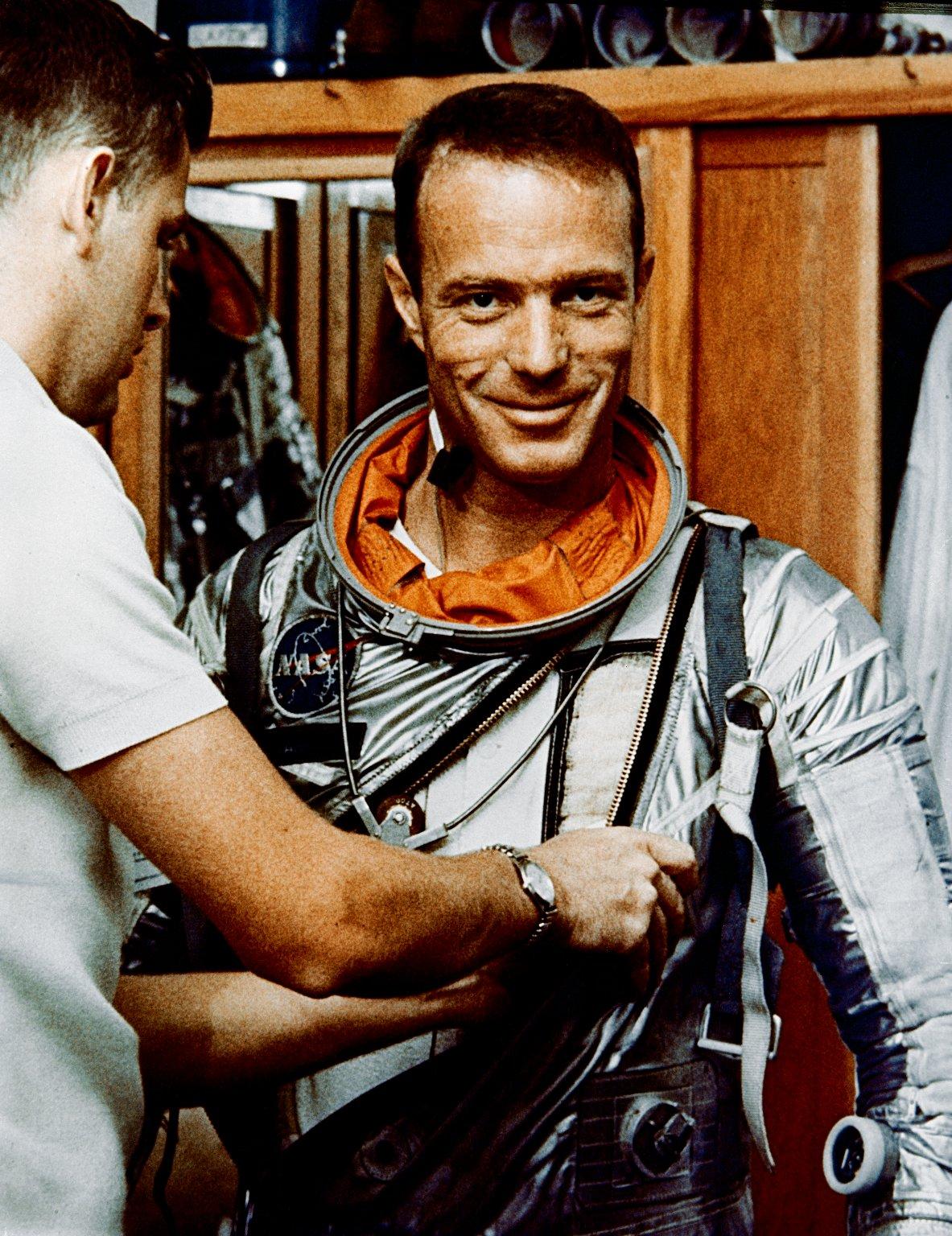 Astronaut Scott Carpenter in Hanger S Crew Quarters During Suiting Exercise