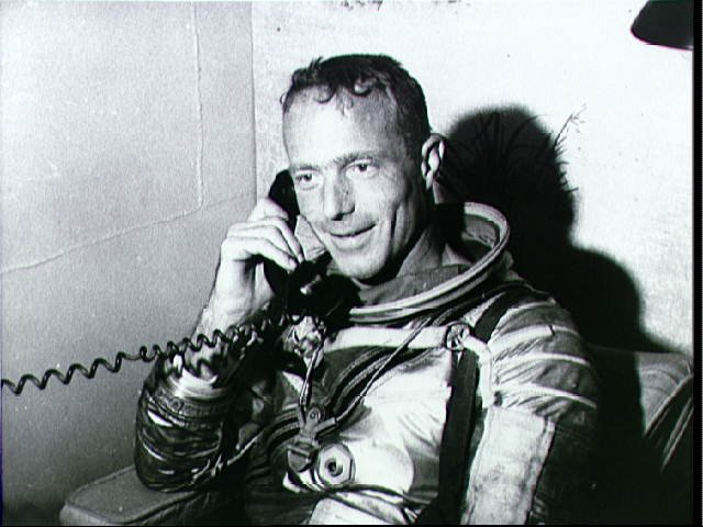 Astronaut Scott Carpenter Recieves Call from President on U.S.S. Intrepid