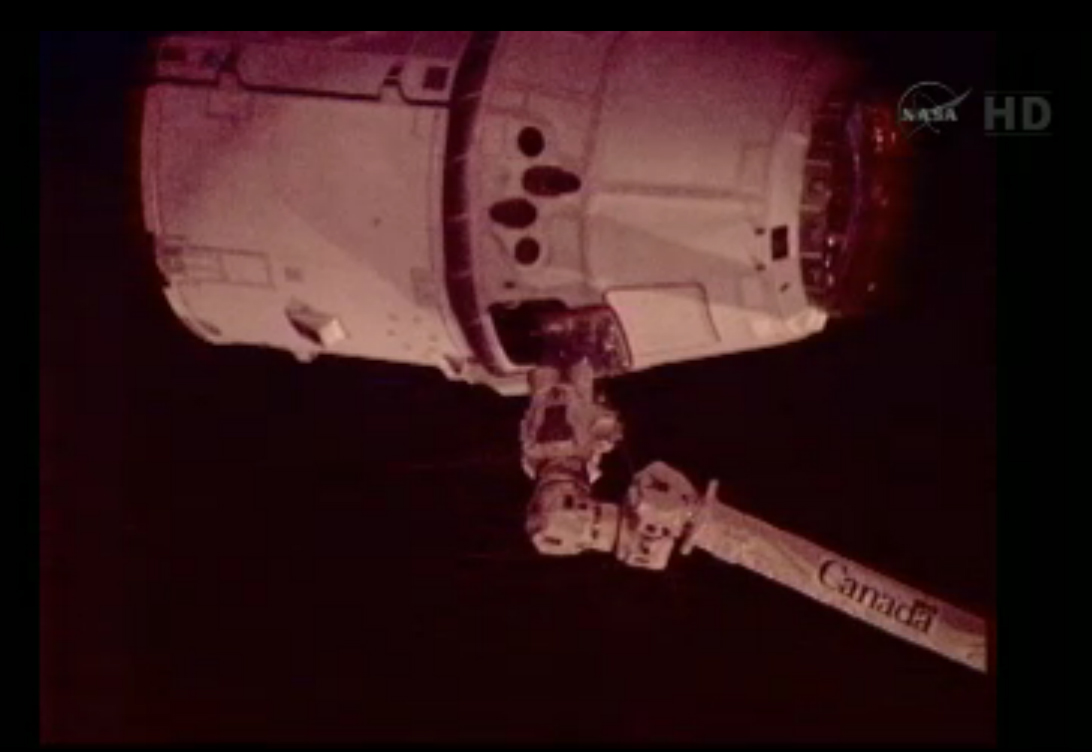 Dragon Capsule Captured by ISS