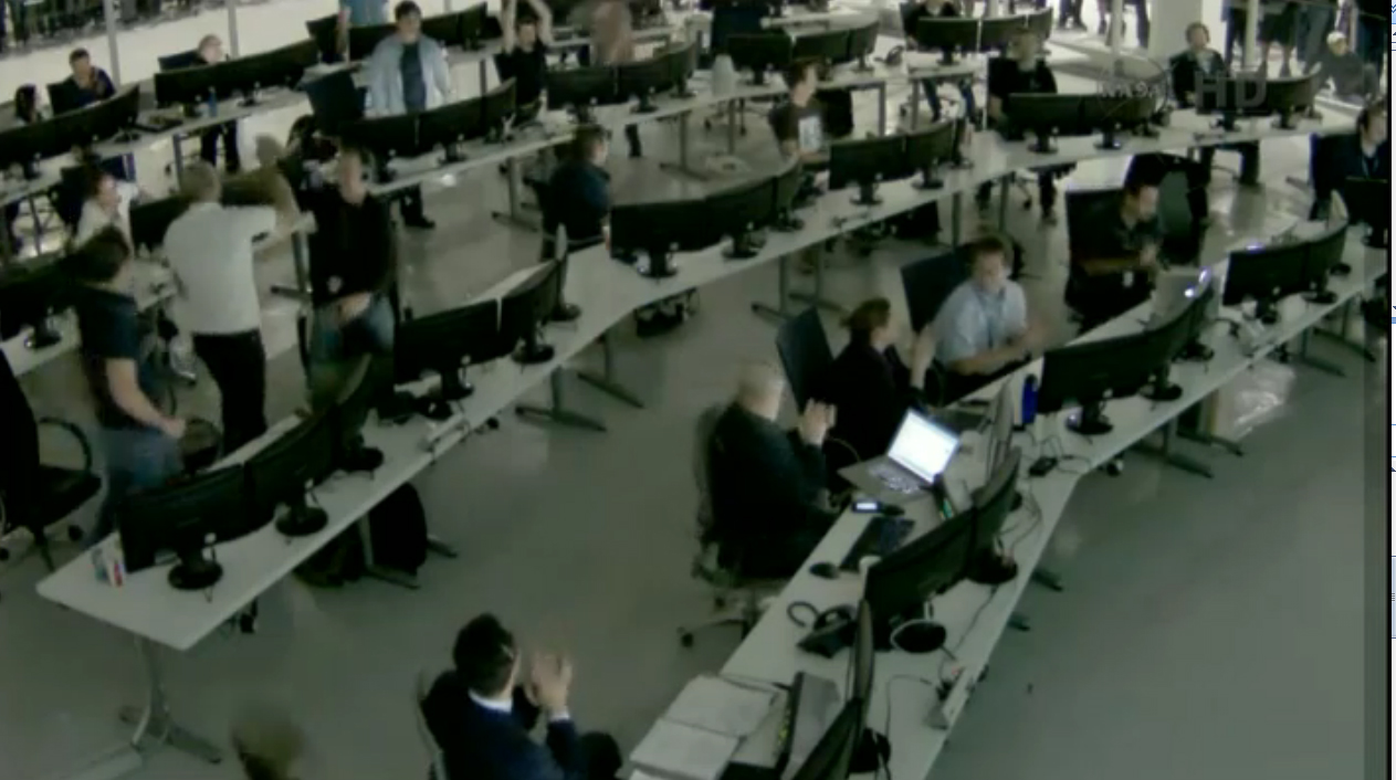 SpaceX Mission Control Celebrating Dragon Capture