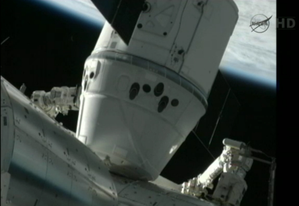 Private Dragon Capsule Arrives at Space Station in Historic First