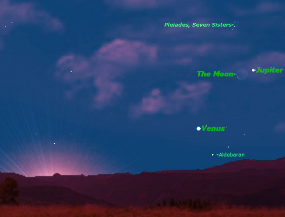 The moon, Venus and Jupiter are visible together on June 17, 2012.
