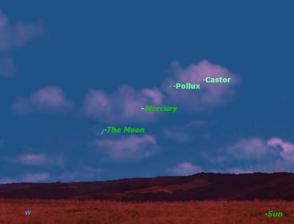 Castor, Pollux, Mercury and the Moon are visible together on June 21, 2012.
