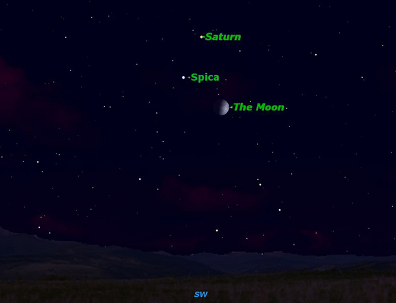 The Moon, Saturn and Spica are visible together June 27, 2012.