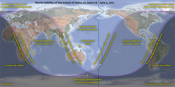 World visibility of the transit of Venus on 5-6 June 2012. Spitsbergen is an Artic island – part of the Svalbard archipelago in Norway – and one of the few places in Europe from which the entire transit is visible. For most of Europe, only the end of the transit event will be visible during sunrise on 6 June.