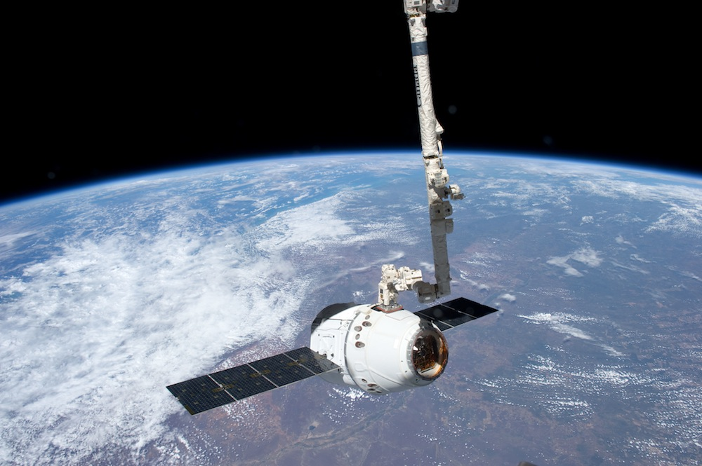 SpaceX Dragon Grappled By Robotic Arm