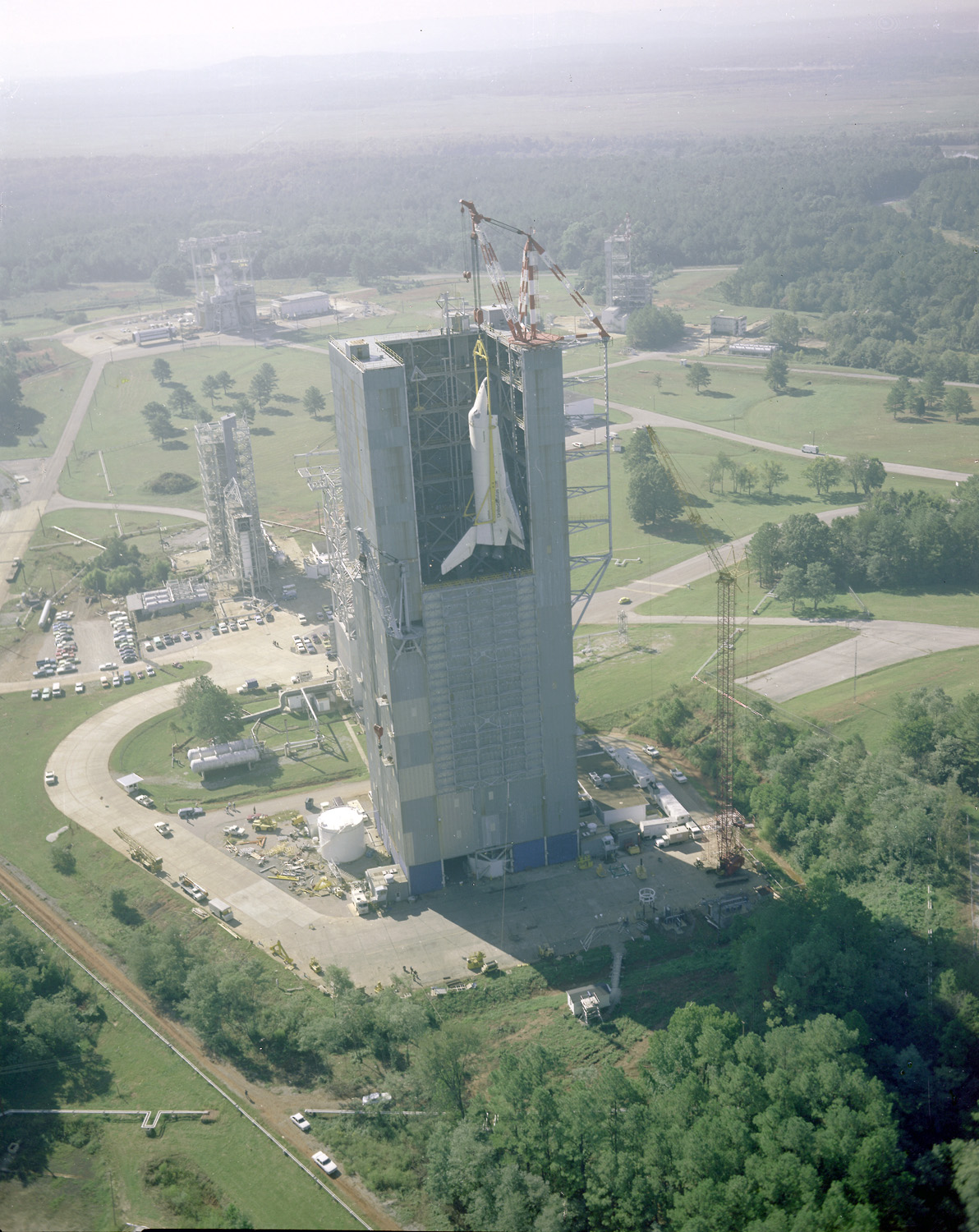 Space History Photo: Space Shuttle Enterprise at Dynamic Test Stand