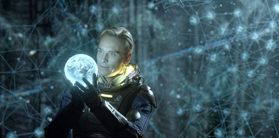 "Aboard an alien vessel, David (Michael Fassbender) makes a discovery that could have world-changing consequences in ""Prometheus."" Opening date: June 8, 2012."