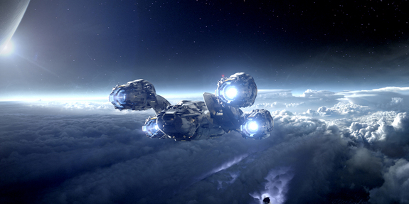 """The titular spaceship of """"Prometheus"""" makes its way to a distant planet. Opening date: June 8, 2012."""