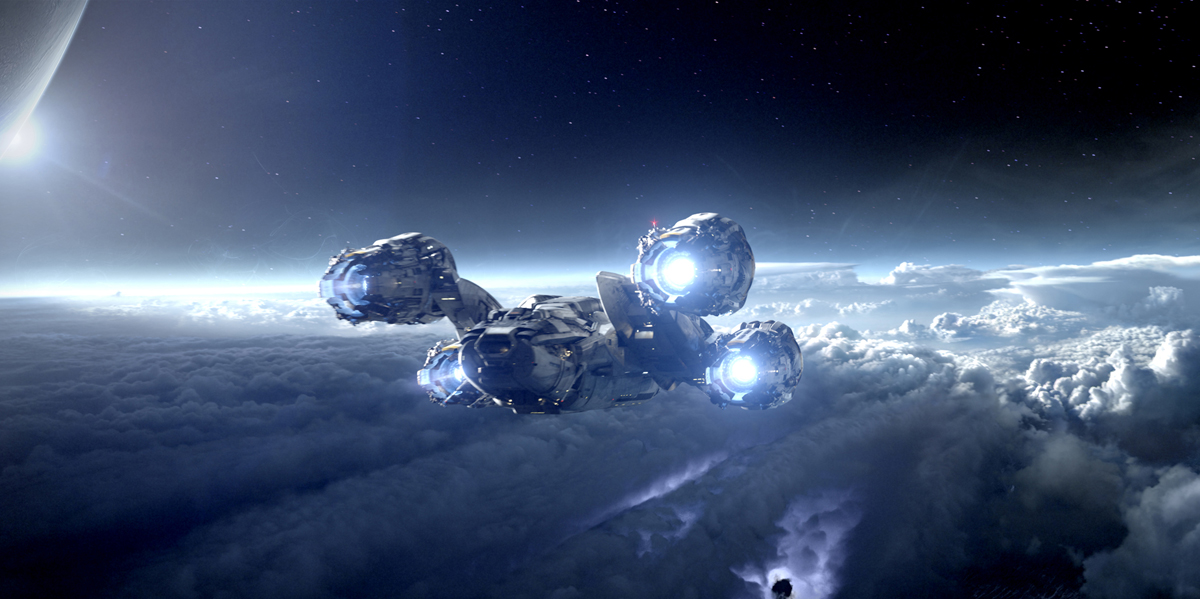 Prometheus Spaceship in Flight