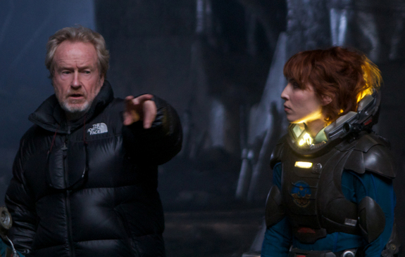 "Ridley Scott directs Noomi Rapace on the set of ""Prometheus."" Opening date: June 8, 2012."