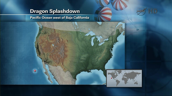 A map shows where Dragon was expected to splashdown in the Pacific Ocean on May 31, 2012.