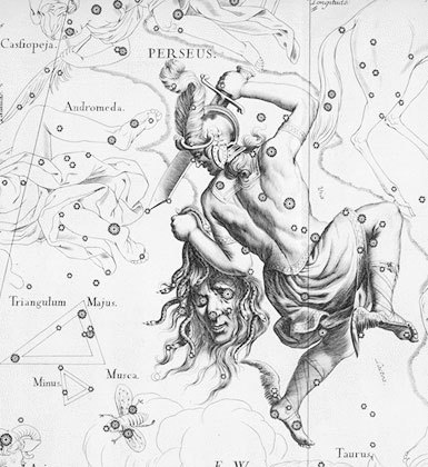 The Demon Star lies some 93 light-years away in the constellation Perseus as one of the eyes of Medusa's head. (Shown here in Johannes Hevelius' Perseus from Uranographia.)