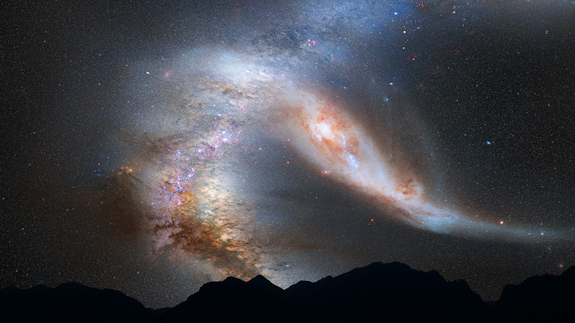 This photo illustration depicts a view of the night sky just before the predicted merger between our Milky Way galaxy and the neighboring Andromeda galaxy. Image released May 31, 2012.