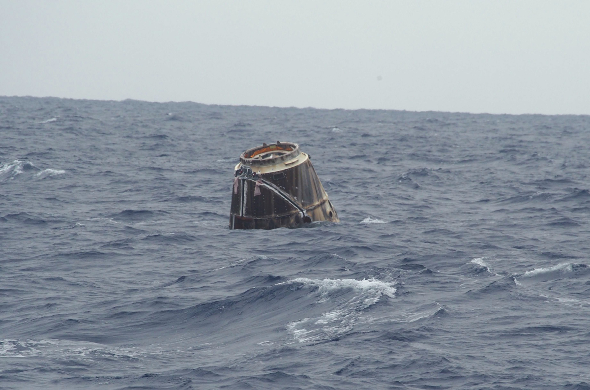SpaceX Dragon Capsule After Splashdown