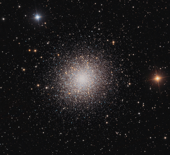 M13, also called the Hercules Globular Cluster, has more than 100,000 stars that shine from about 25,000 light-years away.