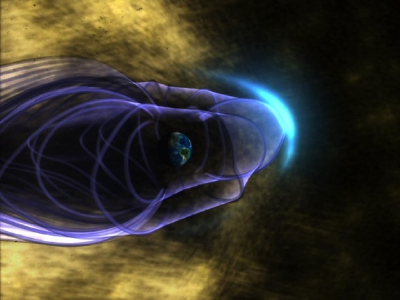 "This is an artist's concept of the Earth's global magnetic field, with the bow shock. Earth is in the middle of the image, surrounded by its magnetic field, represented by purple lines. The bow shock is the blue crescent on the right. Many energetic particles in the solar wind, represented in gold, are deflected by Earth's magnetic ""shield""."