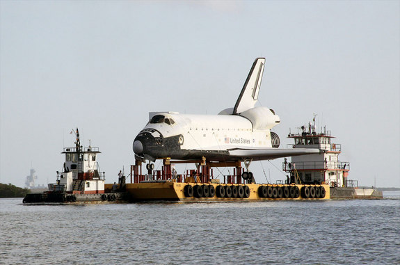 The barge transporting the high-fidelity space shuttle model began its journey from NASA's Kennedy Space Center in Florida to Space Center Houston, Johnson Space Center's visitor center in Texas, on May 24, 2012