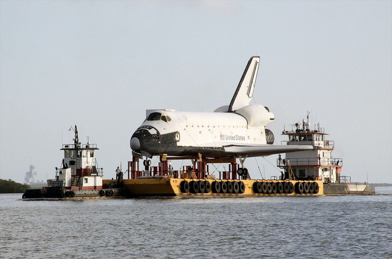 Space Shuttle Replica is 'Go' for Docking in Houston Lake