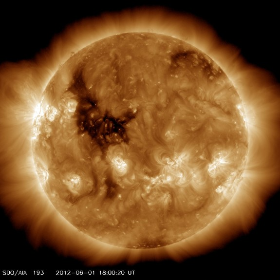 This photo from NASA's Solar Dynamics Observatory spacecraft, snapped on June 1, 2012, captures what looks like Big Bird on the surface of the sun. The feature is actually a coronal hole, a dark area of the sun's upper atmosphere.