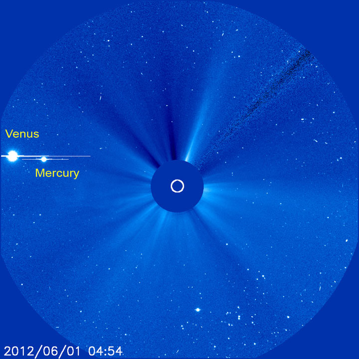 Venus and Mercury Positions, June 1, 2012