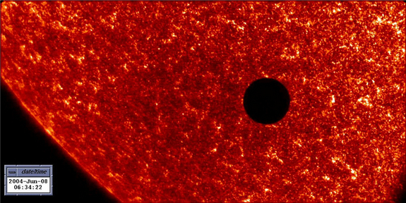 The last transit of Venus happened in 2004, as captured in this satellite image.