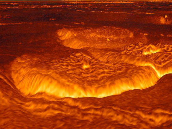 If you could look at Venus with radar eyes - this is what you might see. This computer reconstruction of the surface of Venus was created from data from the Magellan spacecraft.