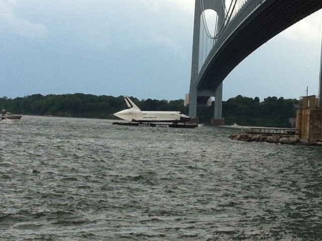 Space Shuttle Enterprise Sails Under NYC Bridge