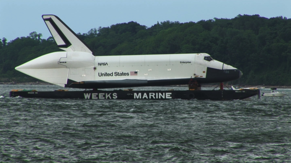 Space Shuttle Enterprise Barges Into NY Harbor