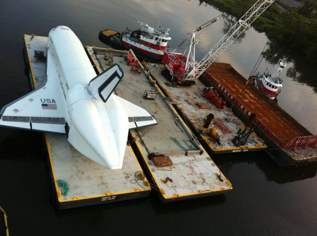 Shuttle Enterprise on Barge, Overhead Shot