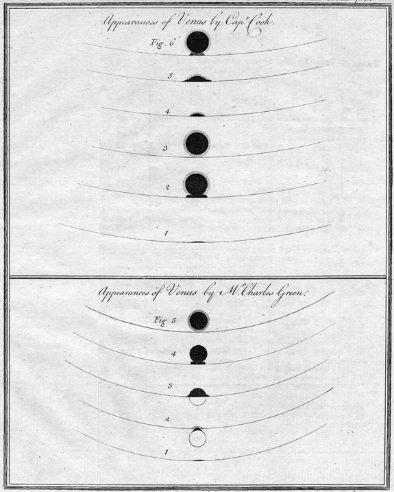 British explorer James Cook and astronomer Charles Green drew these stages of the transit of Venus in 1769. Cook and Green observed the transit from Tahiti on June 3, 1769.