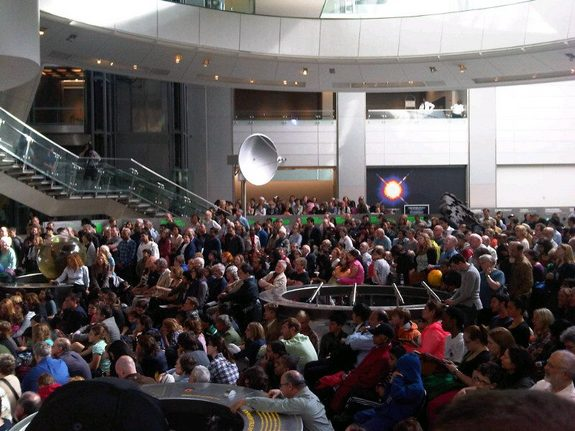 A large crowd turned out to view the transit of Venus at the American Museum of Natural History in New York, where astronomer Steve Beyer explained what the crowd was going to see.