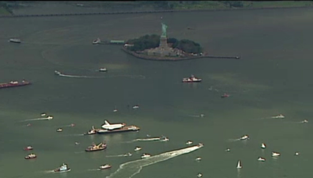 Shuttle Enterprise and Statue of Liberty