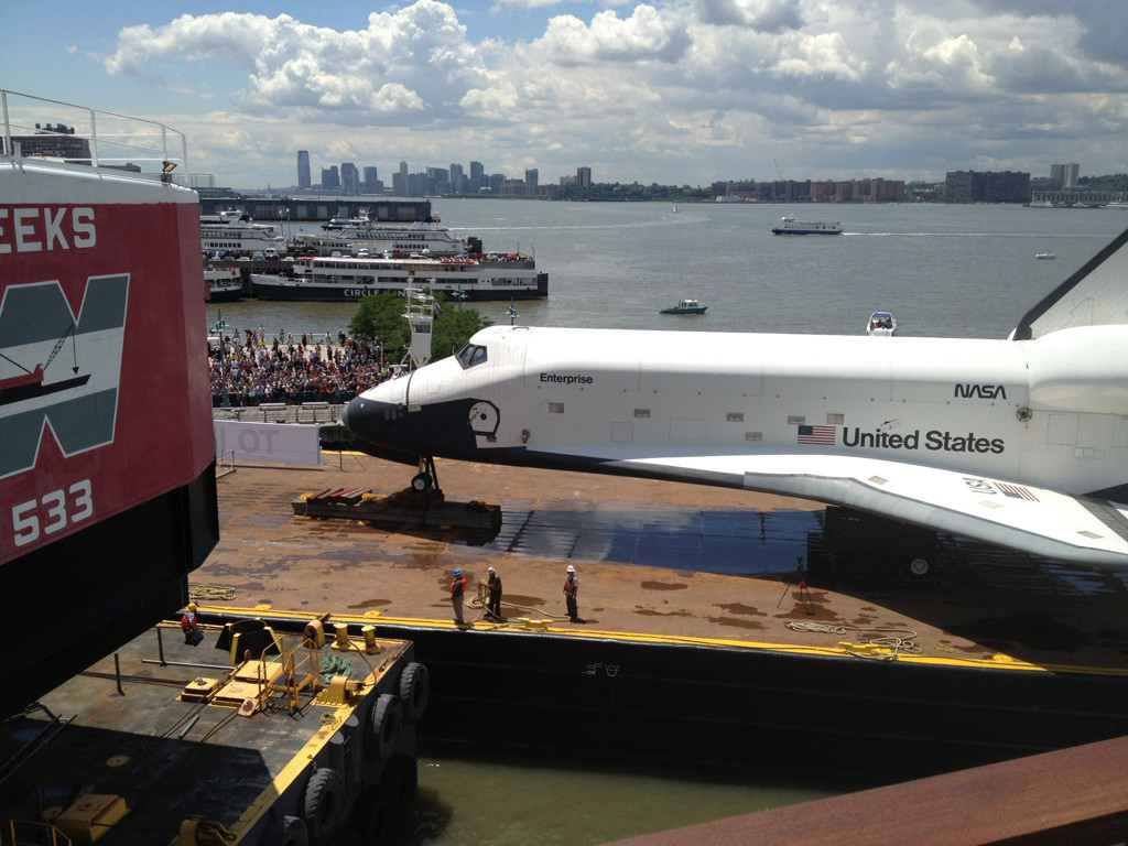 Shuttle Enterprise Arriving at the Intrepid Museum