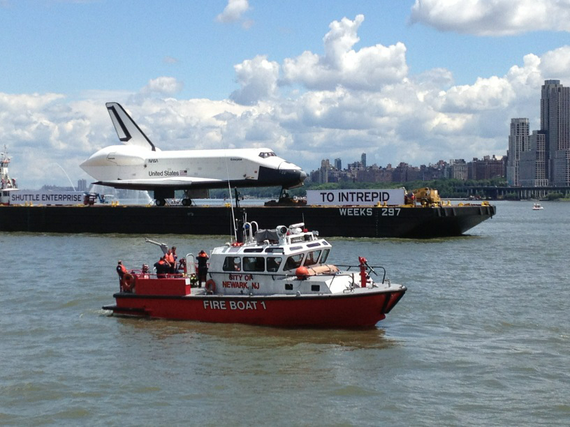 Shuttle Enterprise with Fire Boat