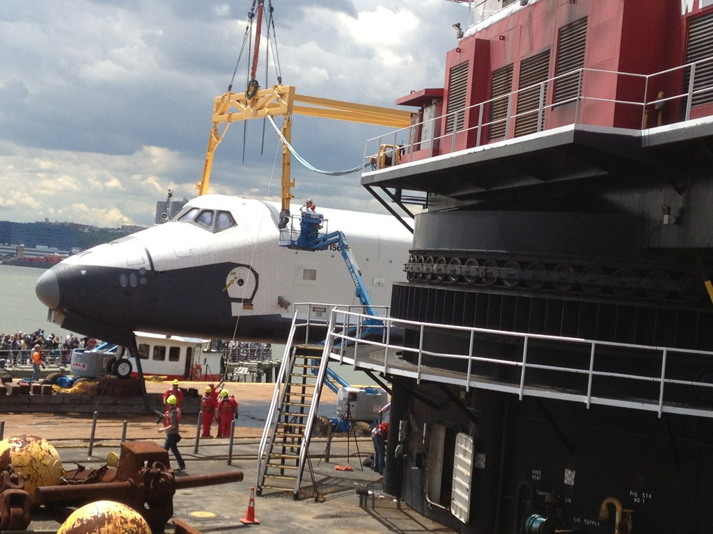 Enterprise Lifted by Crane onto Intrepid Museum