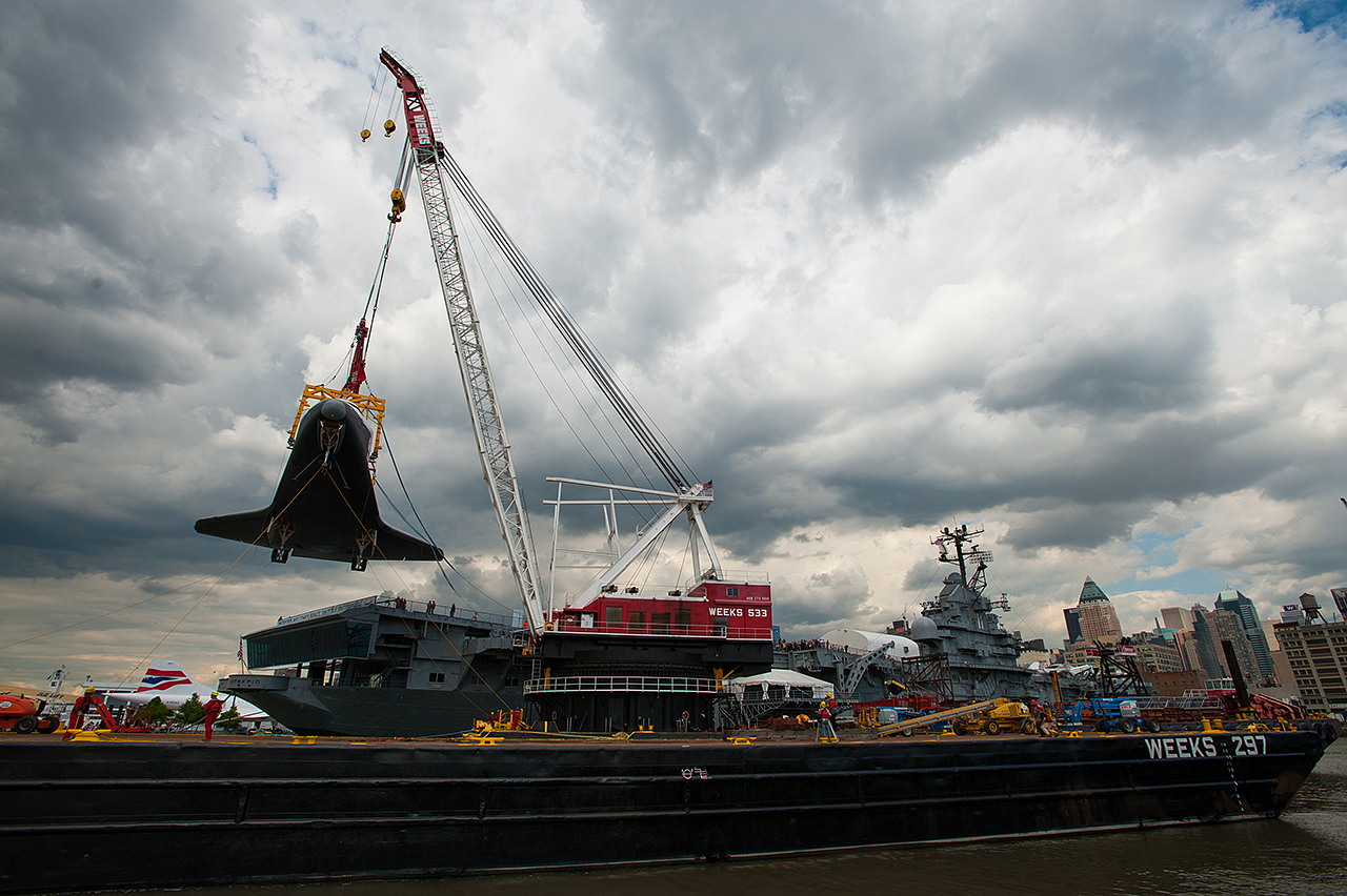 Enterprise Craned Onto Deck of Intrepid Museum