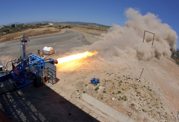 A view of an SpaceShipTwo hybrid rocket engine test firing by SpaceShipTwo builder Scaled Composites in Mojave, Calif.