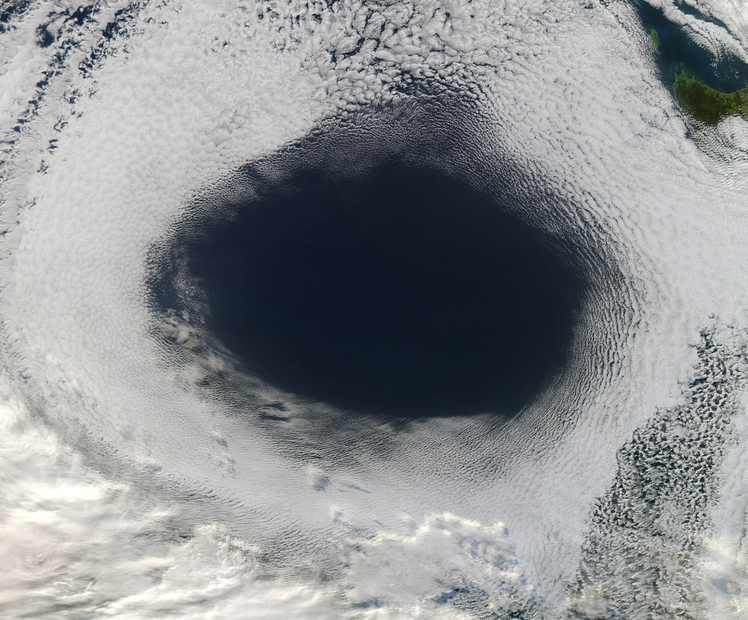 Huge Cloud Hole Photographed by Satellite