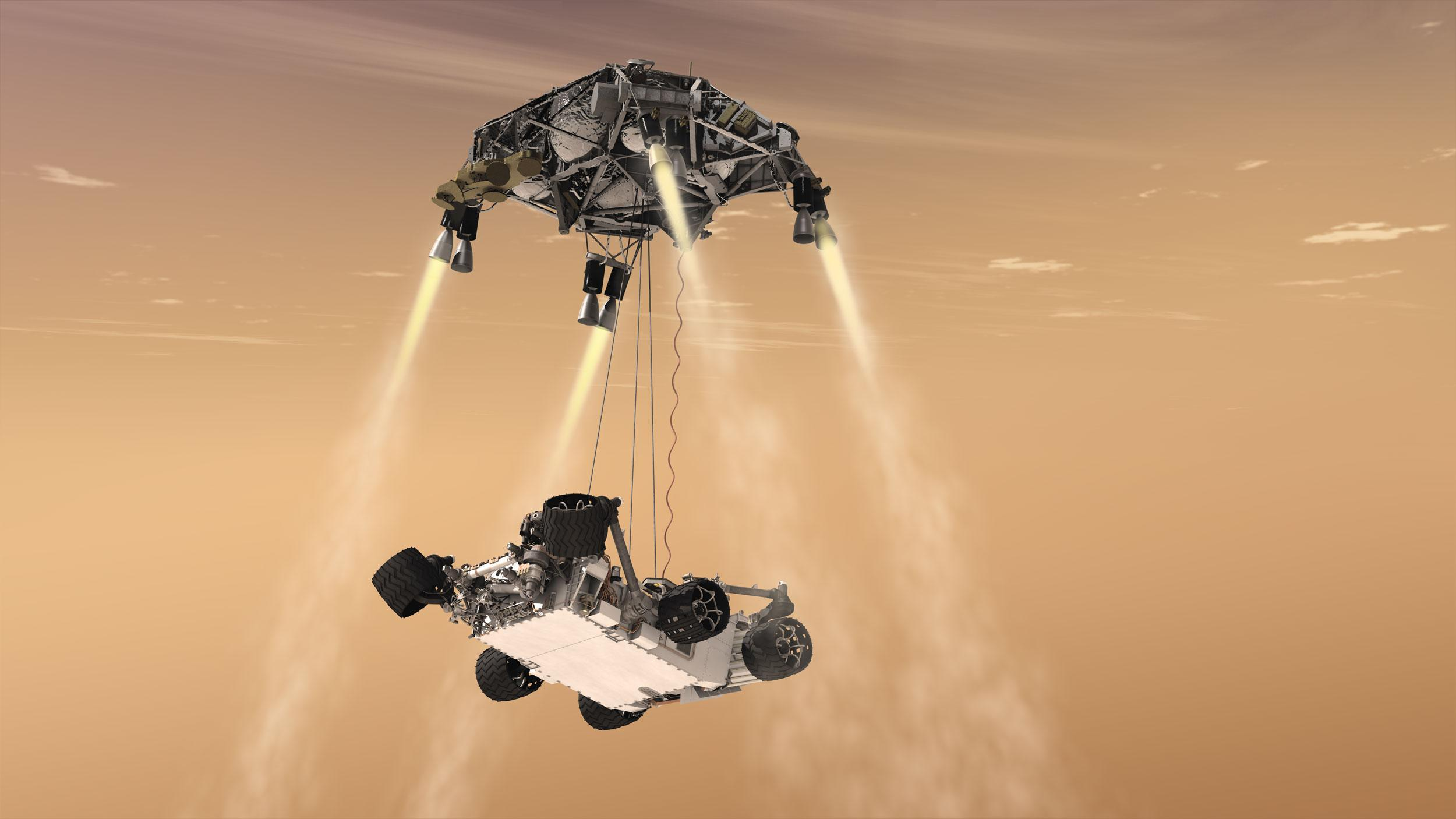 Sky Crane in aerial ballet mode during the descent of NASA's Curiosity rover to the Martian surface.