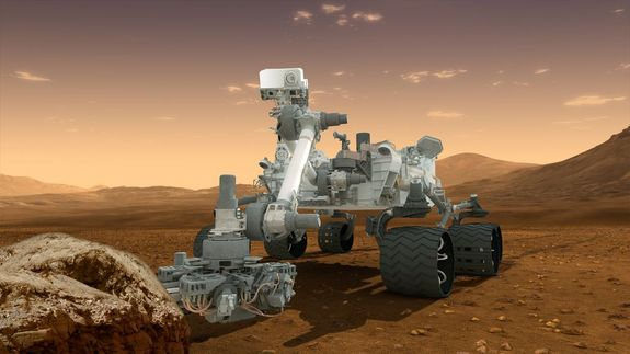 This artist's concept depicts the NASA Mars Science Laboratory Curiosity rover, a nuclear-powered mobile robot for investigating the Red Planet's past or present ability to sustain microbial life. [Related Photos: <a href=http://www.space.com/16877-mars-life-search-photo-timeline.html>The Search for Life on Mars</a>]