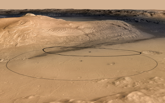 This image shows changes in the target landing area for Curiosity, the rover of NASA's Mars Science Laboratory project. The larger ellipse was the target area prior to early June 2012, when the project revised it to the smaller ellipse centered nearer to the foot of Mount Sharp, inside Gale Crater. Image released June 11, 2012.