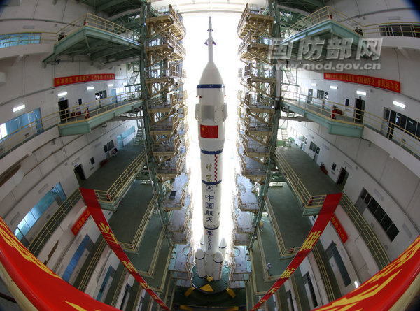 Shenzhou 9 Spaceship at the Jiuquan Satellite Launch Center