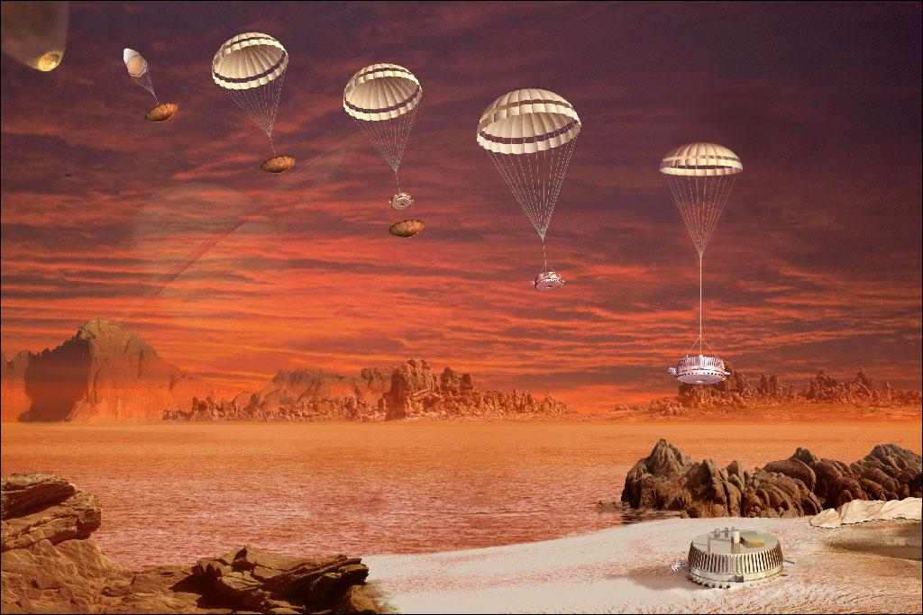 Huygens Parachuting on Titan