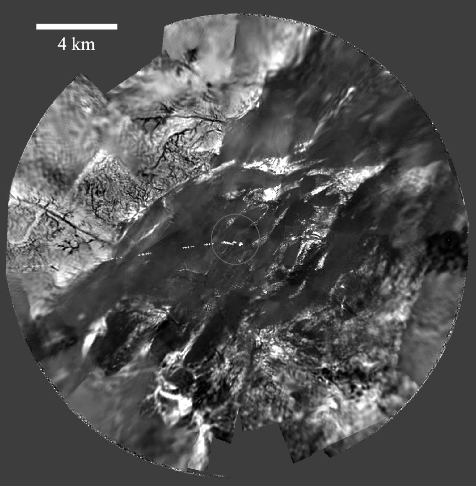 Huygens Mosaic of Titan from Above